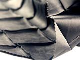 直销 仿皮绣花立体锻织格布 哑光黑五枚缎
