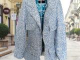 外贸原单女装外套 欧美站外贸秋冬款小香风呢子大衣 进口面料大衣