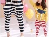 伙拼童装 米豆儿童装批发 2014春款百搭儿童条纹哈伦裤跨裤