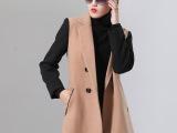 2014春秋新款欧美时尚撞色修身双排扣毛呢大衣风衣外套女 混批发