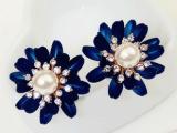 韩国小清新 高贵 蓝色花朵 镶钻珍珠气质 百搭耳钉
