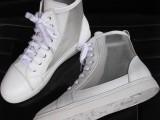 香港IT潮鞋韩版网布真皮白色高帮鞋2013夏季新款女鞋平底休闲鞋