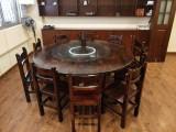 顺德菜餐厅桌椅炭烧木火烧实木仿古餐桌椅台凳