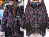 2014冬装新款欧美女装加绒加厚棉服连帽格子棉衣大码长款棉袄批发