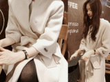 秋冬女装韩版新款中长款立领毛呢大衣