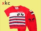 小酷车新款夏季T恤韩版童装男童儿童宝宝套装莫代尔熊猫头两件套