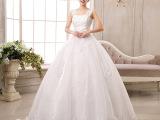 2015韩版新款婚纱礼服新娘结婚双肩复古蕾丝一字肩齐地婚纱
