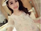 夏季新品韩版甜美气质网纱印花格子连衣裙短裙女