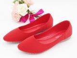 新款女鞋厂家直销 热销婚鞋红色平底新娘鞋尖头平跟浅口单鞋时尚