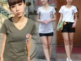 一件代发韩版女装2014夏季装大码纯棉印花V领短袖女t恤