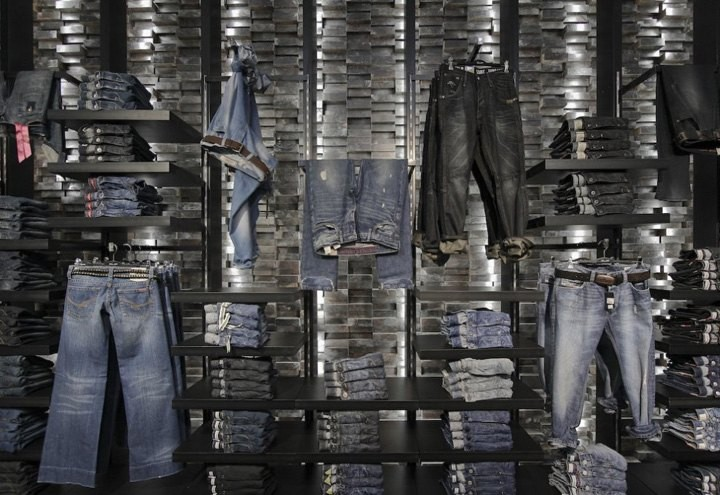 高档牛仔裤货架,牛仔裤服装连锁店展示架