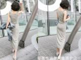 2014夏装新款女式连衣裙 女超长纯色背心裙 莫代尔沙滩裙 大码