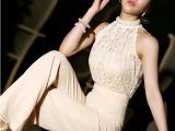 韩国大牌手工钉珠蕾丝拼接 珍珠领口阔腿裤 YM0833