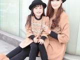 秋冬装韩版蕾丝花边九分袖双排扣蝴蝶结羊毛呢大衣外套母女亲子装