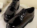 批发代理一件代发新款简约圆头漆皮系带学生牛津单鞋女鞋子