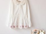 2014春装新款森女双层娃娃领蕾丝刺绣绣花收腰娃娃衫衬衫