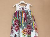 外贸原单欧美品牌2015夏季新款女童娃娃款纯棉嵌珠背心款连衣裙
