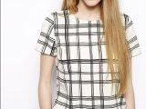 2014春夏新款女装欧美风格子休闲短袖T恤