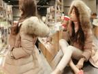 2013秋冬新款 正品那英同款羽绒服女超大毛领修身加厚中长款 批发