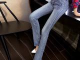 秋冬新款韩版高腰微喇叭牛仔裤女显瘦女裤长裤 牛仔裤女一件代发