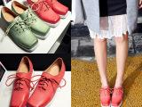 欧洲站2015春季新款时尚低跟交叉系带方头真皮单鞋外贸女鞋代
