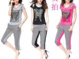 2014夏装新款韩版时尚印花短袖t恤女夏修身运动休闲套装