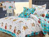 现货小批床上用品布料 儿童纯棉40S 卡通大嘴猴系列 可定制套件
