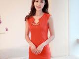 2014夏新款修身裙女士正装职业装气质百搭连衣裙圆领连衣裙