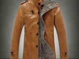 品牌男装 2014秋冬装新款男式皮夹克 时尚男中长款立领加绒PU