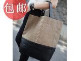 韩版2013新款鳄鱼纹拼接蟒蛇纹复古包欧美风单肩斜挎包大包包女包