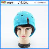 帽子女冬季帽厂批发毛线帽 时尚菱形提花套头帽 logo织唛绣针织帽