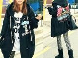 秋冬新款 韩版女装大码宽松开衫拉链美洲鹰印花卫衣外套