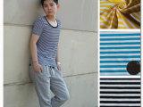 06096广州精品棉拉架男女T恤全棉面料婴儿童装棉面料间条全棉布