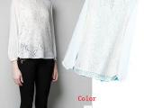 批发2013春季新款欧美大牌女装 圆领九分袖修身百搭蕾丝雪纺衬衫