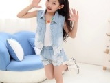 童装女童 牛仔套装夏季新款潮小背心休闲无袖马甲蕾丝短裤花边