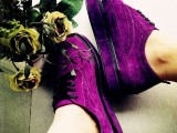 2014秋季新款厚底单鞋舒适百搭紫色女单鞋韩国外贸系带低帮鞋女