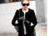 2012韩版女装冬装新款时尚百搭圆领女士长款黑色大衣外套批发30
