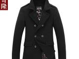 2014新款男装毛呢外套 中长款加厚羊毛大衣 韩版修身男士呢大衣