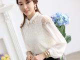 5102 潮流女装大码 韩版翻领职业女士衬衣 长袖蕾丝雪纺衬衫批