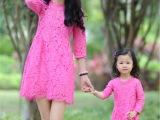 春夏新款韩版收腰显瘦中长款七分袖蕾丝连衣裙母女亲子装一件代发