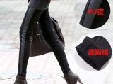 2014冬季加厚加绒打底裤新款韩国时尚拼皮铅笔小脚裤大码皮裤批发
