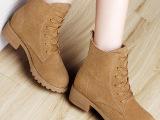 2016新款秋冬短靴 粗跟真皮驼色马丁靴