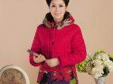2014冬季中老年女装棉衣连帽拼色印花宽松棉衣大码妈妈装棉服批发