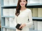 蕾丝打底衫 2014秋季新品韩版修身v领钉珠蕾丝衫 长袖蕾丝上衣女