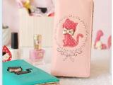 新品韩版可爱印花小猫咪蝴蝶结糖果色日系小波点拉链女生长款钱包