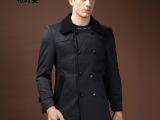 弹力针织呢子大衣新款男大衣 时尚英伦阔领子加长男士大衣91295