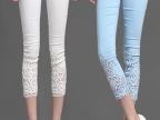 大码OL蕾丝钩花镶钻薄夏款白色外穿打底七八分小脚裤九分裤