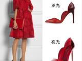 2014 V家 章子怡姚晨同款 拼色尖头细跟高跟花瓣单鞋 A8-