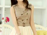 2014新款韩版女装 拼接淑女修身超级个性好质量版网纱连衣裙