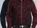 2014冬季寒霸新款男装长袖加厚加绒碎花男式衬衫翻领韩版修身保暖